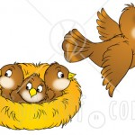 31254-clipart-illustration-of-a-brown-bird-flying-away-from-a-nest-with-three-baby-birds