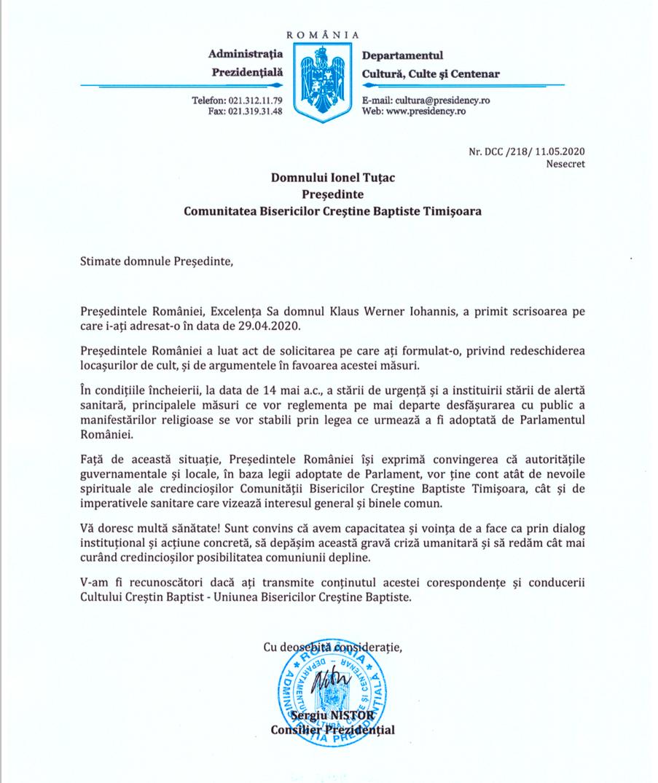 Răspunsul preşedintelui la scrisoarea privind redeschiderea bisericilor